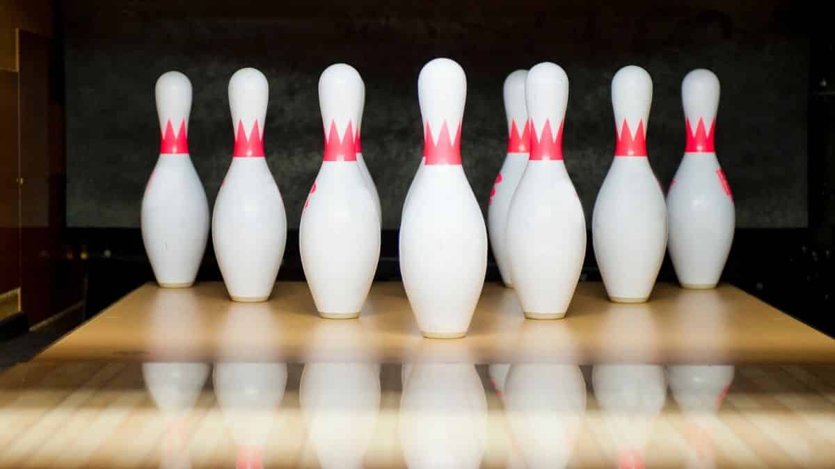 set of standing bowling pins