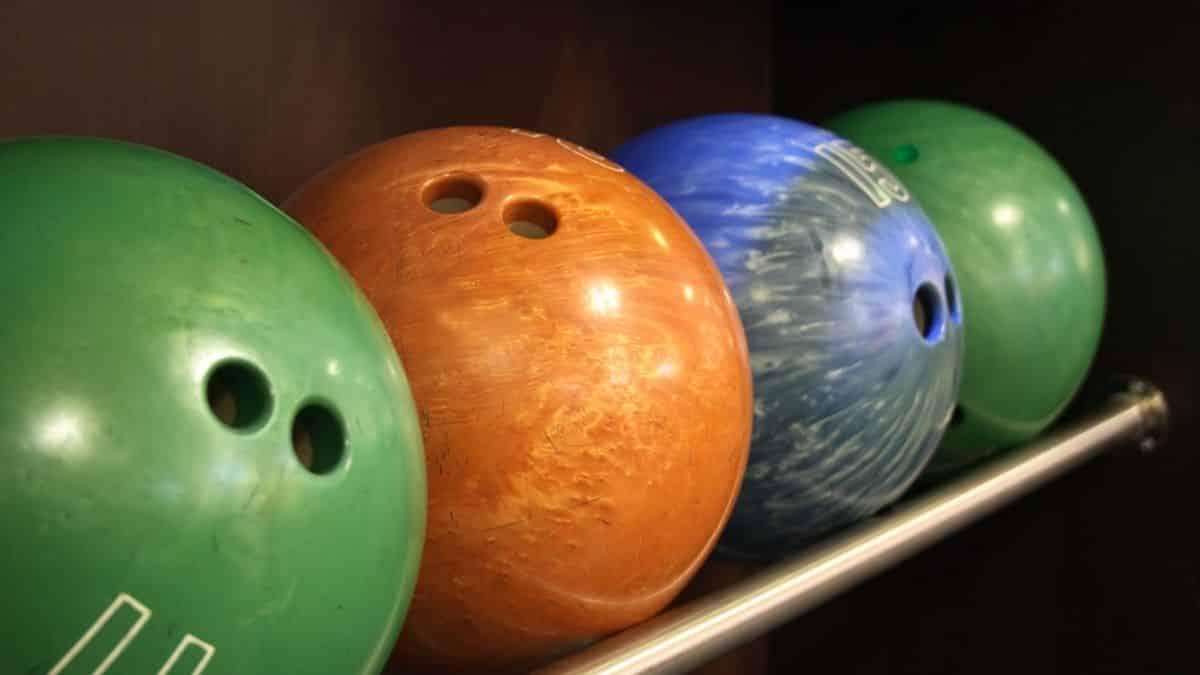 set of various bowling balls