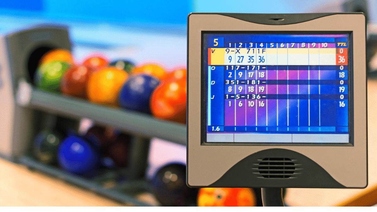close-up view monitor of bowling score